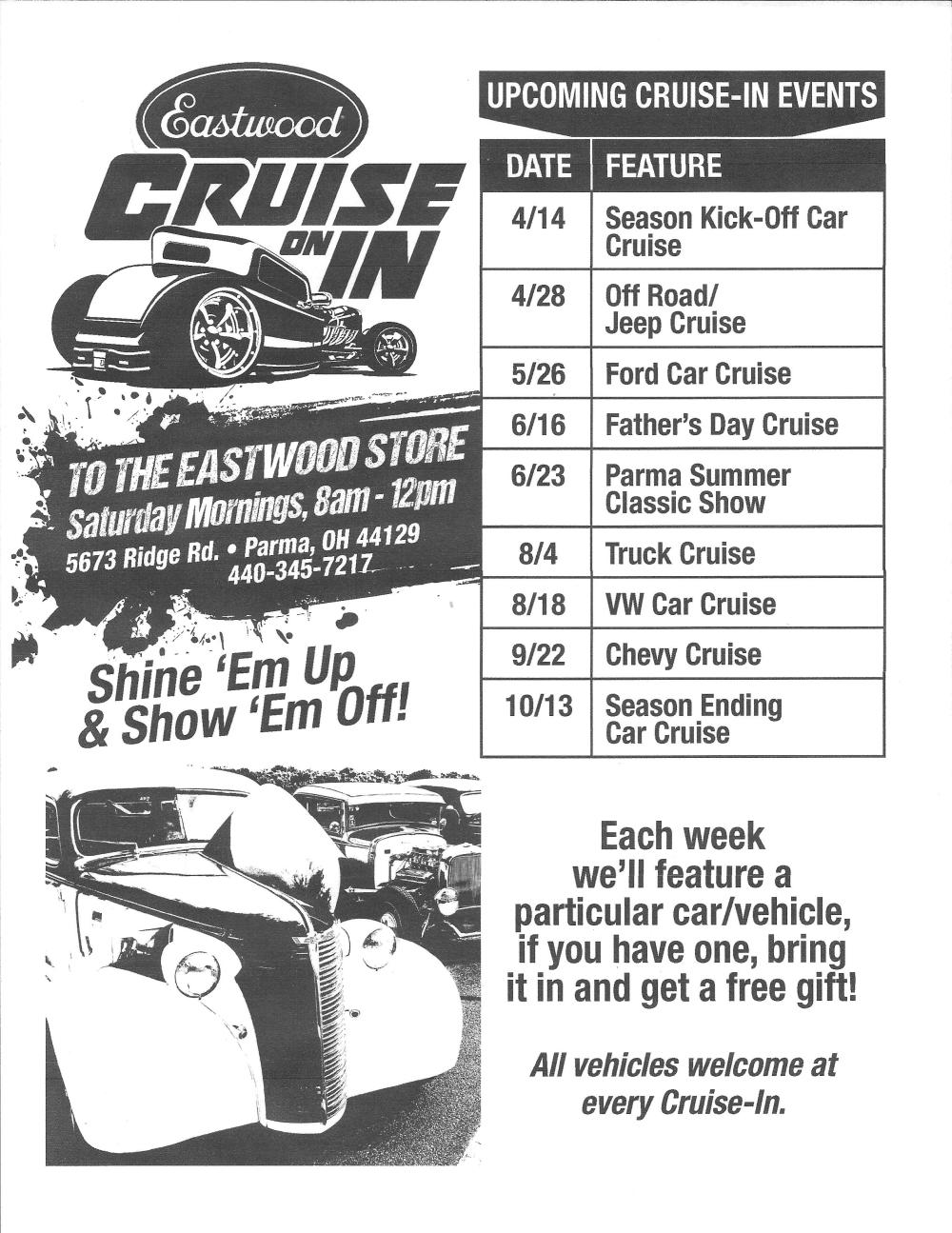 2018 Eastwood Car Cruise schedule